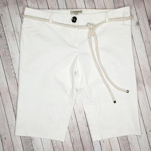 Burberry London White Bermuda Shorts Rope Belt